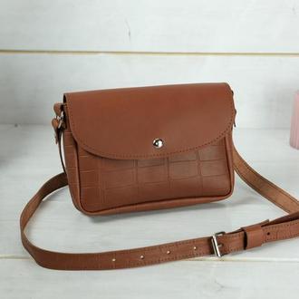 Кожаная женская сумочка Мия, кожа итальянский краст, цвет коричневый, оттиск №2