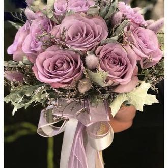 Лавандовый свадебный букет для невесты