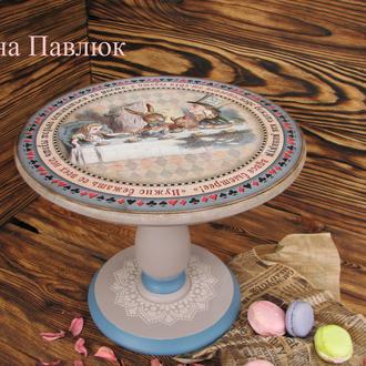 """Большая деревянная Подставка для торта, капкейков, тортовница ,для десертов """"Алиса"""""""