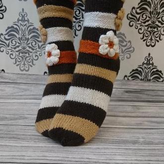 Красивые женские носки - вязаные носочки для подарка