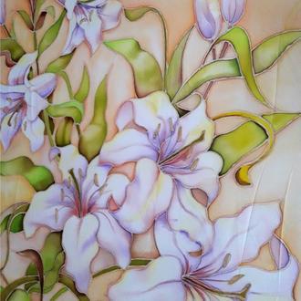 Палантин-шарф «чарующие лилии», Батик