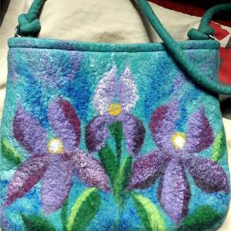 Валяная сумка Ирисы