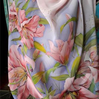 платок шифоновый «Лилии розовые»батик