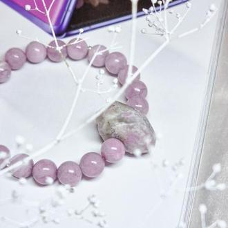 Браслет из натуральных камней, браслет из лепидолита, дизайнерский браслет, браслет из турмалина