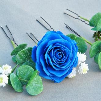 Шпильки для волосся з квітами Шпильки сині троянди ,евкаліпт,гіпсофіла
