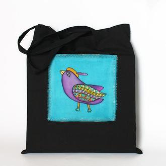 Черная хлопковая эко-сумка с птичкой, шоппер продуктовый, женская сумка для йоги