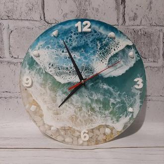 Часы  эпоксидная смола в стиле лофт море картина