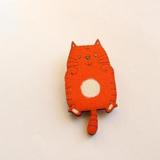 Деревянный значок Рыжий котик