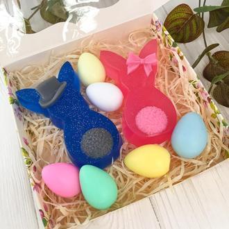"""Подарунковий набір мила  """"Великодні кролики"""" 15х15х3см"""