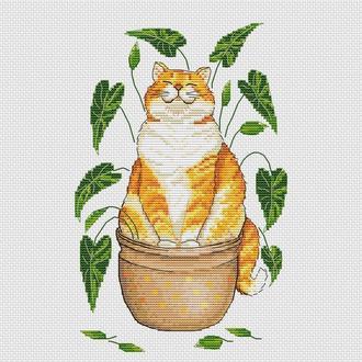 """Авторская схема для вышивания крестиком """"Кот-солнечный цветок"""""""