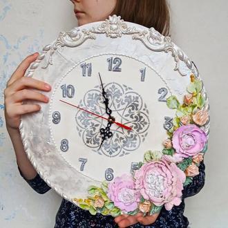 """Объемные настенные часы """"пионы с миниатюрными персиковыми розами"""" оригинальный подарок любимой"""