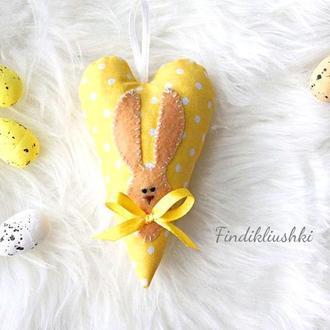 Текстильное тильда-сердечко, Пасхальное сердечко с кроликом. Сувенир на Пасху