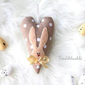 Пасхальный зайчик. Пасхальный кролик сердце. Пасхальный сувенир. Подвеска пасхальная.