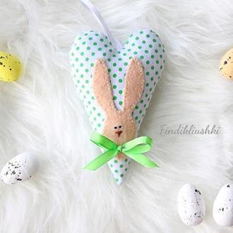 Милое сердечко с кроликом. Пасхальный сувенир. Пасхальный зайчик, Пасхальные сердечки тильда