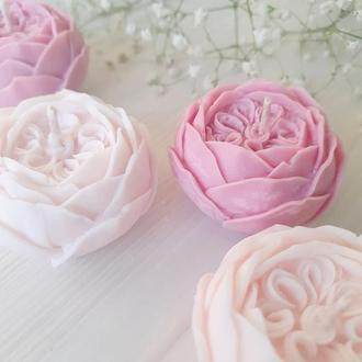 🌹 АНГЛИЙСКАЯ РОЗА свеча из воска Handmade - волшебный подарок на День рождения, гостям на свадьбу
