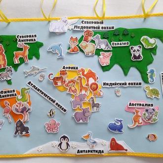 Карта мира из фетра на стену в детскую комнату. Животные из фетра на липучке. Материки, океаны.