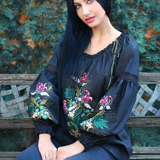 """Экзотическая вышитая блуза """"Цветок ангела""""  дизайнерская вышиванка"""