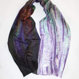 Длинный шелковый шарф окрашенный вручную, женский батик шарф омбре ручной росписи, сиреневый шарф