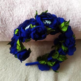 Обруч, синий ободок, веночек из цветов