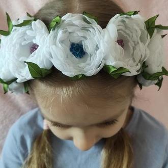 Обруч, белый ободок, веночек из цветов
