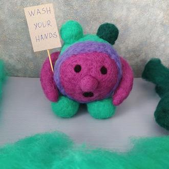 Микроб вирус фигурка игрушка из шерсти валяная эксклюзив