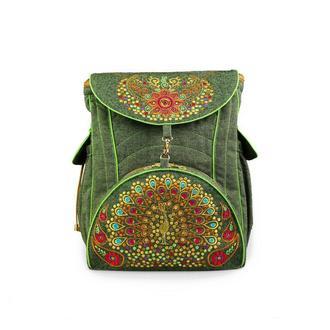 """Большой вышитый рюкзак из натуральной ткани """"Павлин"""""""