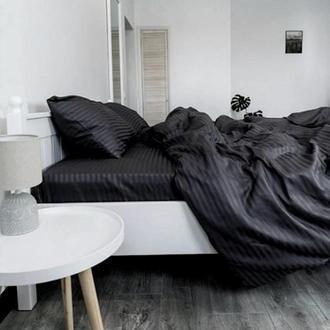 Постельное белье из турецкого страйп-сатина Черный ТМ Царский Дом