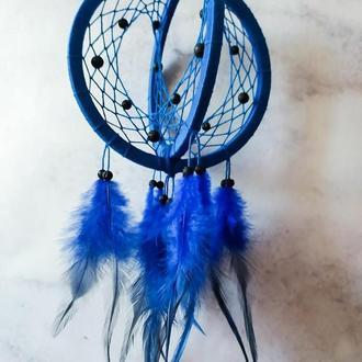 Объемный синий 3D Ловец снов.  Декор для дома. Подарок. Амулет. Аксессуар