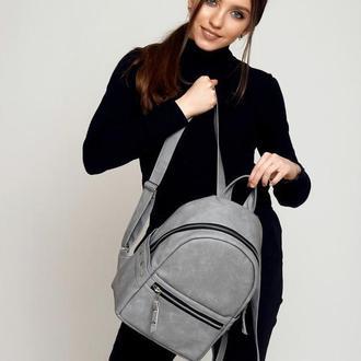 Серый рюкзак эко кожа
