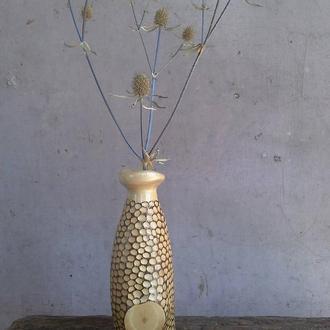 Деревянная ваза для сухоцветов