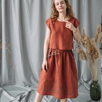 Льняная юбка миди на талии с росписью ручной работы