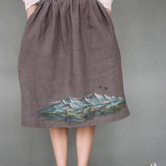 Серая юбка миди из натурального льна с росписью ручной работы