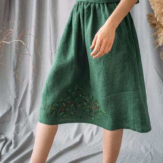 Зеленая юбка миди из натурального льна с росписью