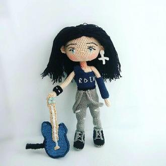 Вязаная кукла, гитарист, рокер, неформал. Ручная работа