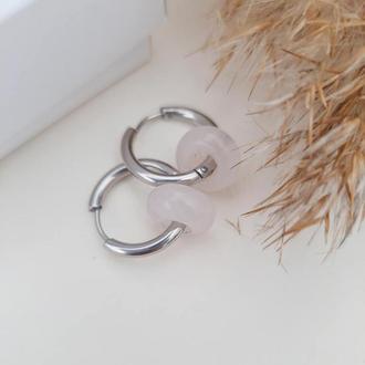 Сережки-кольца конго с розовым кварцем