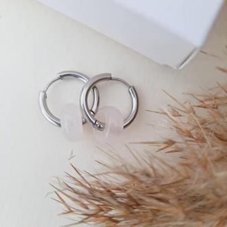 Сережки-кільця конго з рожевим кварцом