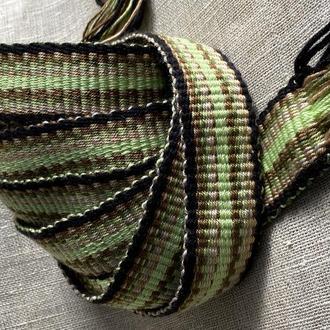 Пояс для вышиванки, этно-пояс, Крайка салатовая