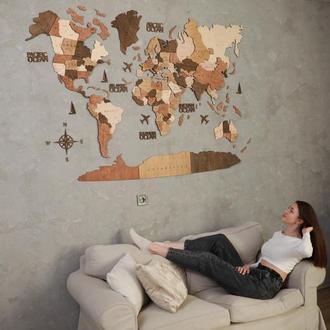 Деревянная карта мира на стену многослойная