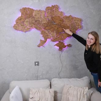 Карта Украины из дерева на акриле с подсветкой