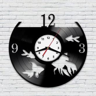 Настенные часы из винила Аквариум