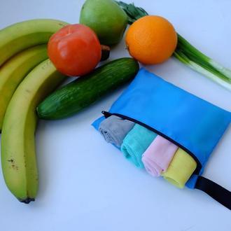 Эко мешочки, набор эко пакетов для покупок с чехлом, фруктовки, мішечки zero west
