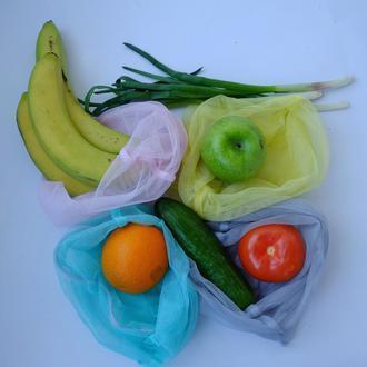 Еко мішечки, набір еко пакетів для покупок з чохлом, фруктовки, мішечки бувають zero west
