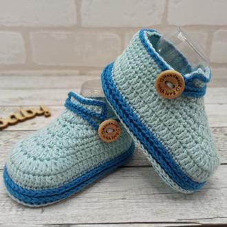 В'язані дитячі пінетки, туфлі пінетки, дитячі черевички, вязані пінетки чобітки
