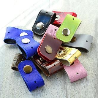Органайзер, холдер для наушников, держатель USB-кабеля. Двойная кожа