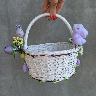 Белый детский пасхальную корзину с зайчикомдля мальчиков и девочек