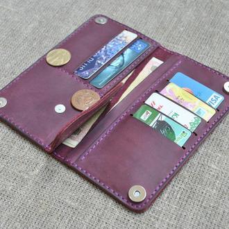 Стильный портмоне в цвете марсала из натуральной кожи K39-800