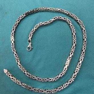 Мужская серебряная цепь тяжелая массивная ручной работы