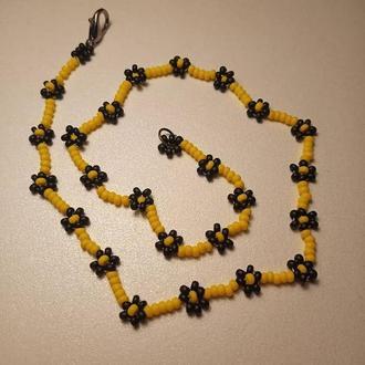 ожерелье с бисера ♡ узор: цветочки