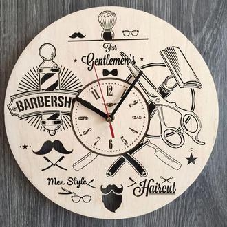 Стильные настенные часы «Инструменты парикмахера»