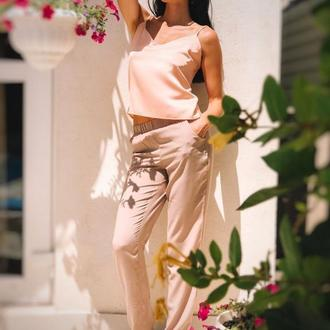 Легкие летние брюки, цвет пудра